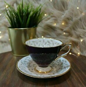 Taylor Kent Tea Cup Saucer Bone China Deep Purple Footed Gold Trim 592