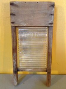 Vintage Crystal Cascade Glass Wood Small Salesman Sample Child S Washboard