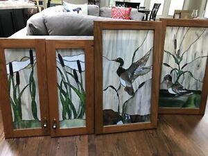 Four Professionally Designed Stained Glass Waterside Panels