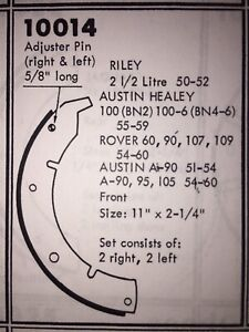 Austin Healey 100 4 1oo 6 Front Brake Shoes Relined Sold Exchange