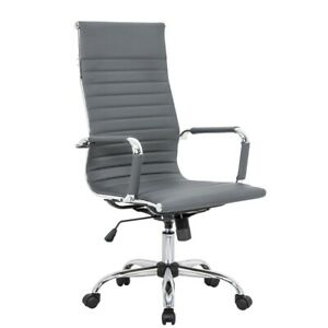 Leisuremod Harris High Back Leatherette Executive Swivel Office Chair In Gray