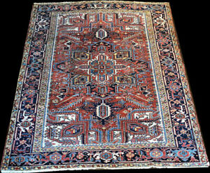 An Antique Decorative 7 1 X 9 4 Worn Out Persian Heriz Rug