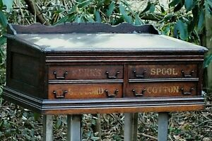 1880s Country Store Advertising Kerr S Six Cord Spool Cabinet Counter Top Desk