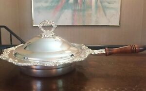 Silver Plated Serving Pan Dish Platter W Lid Cover Handle