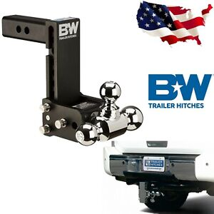 B W Ts10049b 7 Drop Tow Stow Adjustable Tri Ball Mount For 2 Receiver Hitch