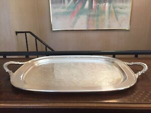 English Silver Mfg Corp Silverplate Serving Tray Floral With Handles 22 5x14