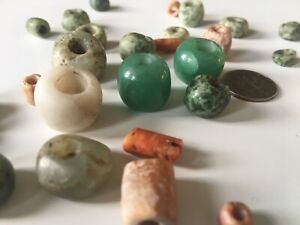 Unique Collection Of Mayan Olmec Aztec Pre Columbian Jade And Seashell Beads
