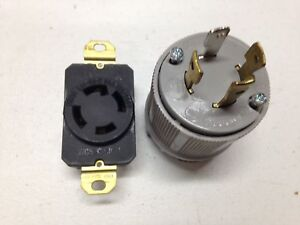 L14 30p Locking Male Plug Receptacle 4 prong 125 250 Volt 30 Amp Free Ship