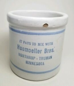 Red Wing Advertising Beater Jar Crock Stoneware Huemoeller Bros Minnesota