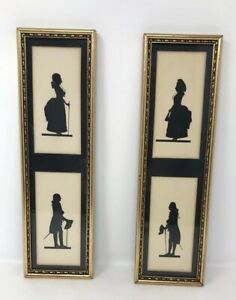 Lot Of 2 Vintage C A Richards Framed Panel Silhouettes Husband And Wife