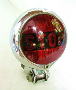 Antique Stop Lamp Pmc 402 Chrome W Red Lens Motorcycle Rat Rod Custom Etc