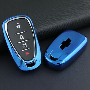For Chevrolet Blue Tpu Car Smart Key Case Soft Shell Protector Cover Accessories