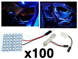 100x T10 Festoon 36 smd Ultra Blue Led Panel Interior Dome Map Replacement Light