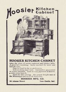 Hoosier Kitchen Cabinet 1905 Oak Cupboard W Flour Bins 8x10 Antique Reprint Ad