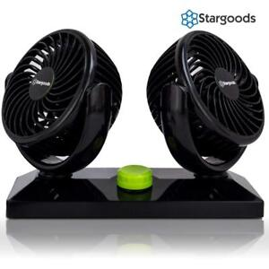 Car Fan With Dual Head 360 Degree Rotation Variable Speed 12v Auto Air Cooling