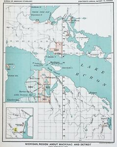 1899 Michigan Map Mackinac Region Native American Ceded Territory Original