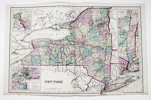 1875 New York Map Brooklyn Long Island Manhattan Lake Ontario Railroads Original