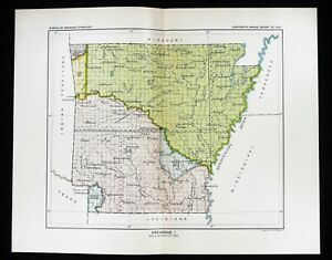 1899 Arkansas Map Little Rock Native American Ceded Territories Original Rare