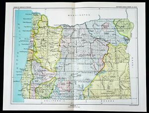 1899 Oregon Map Portland Astoria Native American Ceded Territories Original Rare