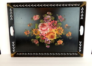 Fine Arts Studio Vintage Hand Painted Toleware Tray Roses Usa 22 X 16