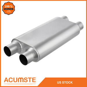 2 5 Inlet Outlet Car Muffler Exhaust Silencer Racing Dual Resonator 3 Chamber