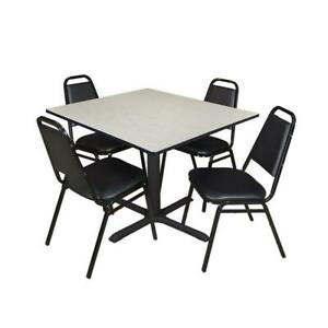 Cain 48in Square Breakroom Table Maple 4 Restaurant Stack Chairs Black