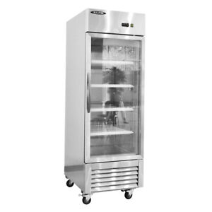 Toolots Single Glass Door Stainless Steel Reach in Refrigerator 20 Cu ft