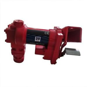 Red Fuel Transfer Pump 12 Volt 20 Gpm Diesel Gas Gasoline Kerosene 264w 20 Gpm