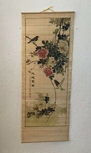 Vintage Japanese Floral And Bird Hanging Scroll Signed 12 X 33 Wood Slats