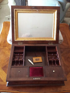 Vintage English Wood Sewing Box With Sterling Silver Blade Pen Knife