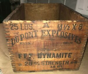 Vintage Wooden Dovetail High Explosives Crate Dupont Dynamite Dangerous Wood Box