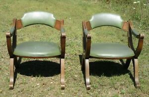 Vintage Drexel Chairs Pair Green Mid Century Modern