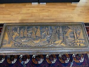 Asian Carved Coffee Table Vintage