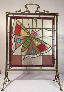 Antique 19th C Art Nouveau Stained Glass Tiffany Era Butterfly Fireplace Screen