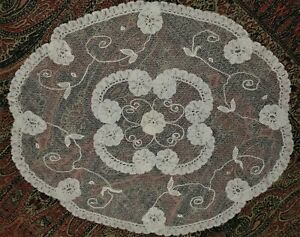 Antique Brussels Princess Net Handmade Lace Small Doily 8 X 7 5