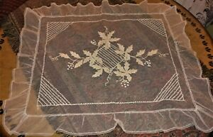 Antique French Tambour Net Lace Bedspread Coverlet Crib Cradle Pram Baby Doll
