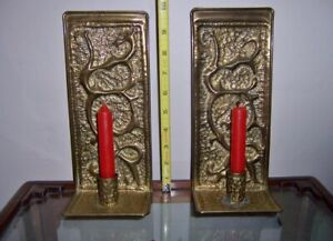 Pair Of Vintage Brass Wall Candle Holders Sconces Hand Made Abstract Designs
