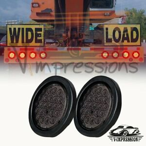 2x24 Led 4 Inch Round Red Stop Brake Trailer Tail Light Smoke For Jeep Truck Rv
