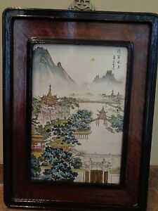 Chinese Large Hand Painted Porcelain Plaque Panel Plate Landscape Scene