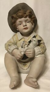 Antique German Porcelain Bisque Large Piano Baby Figurine Boy With Cat 12