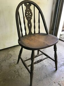 Rare Antique Primitive Turned Spindle Bow Back Wood Mustard Paint Chair Pickup