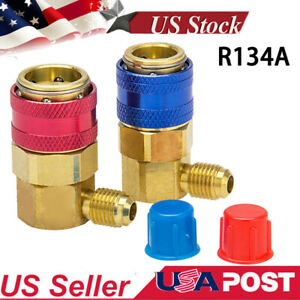 2 Pieces Car A C R134a High Low Adapter Fittings Quick Coupler 1 4 Sae Hvac