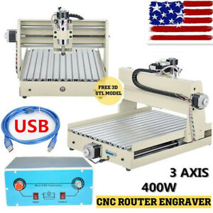 Usb 3 Aixs 400w Cnc 3040 Router Engraver Wood Metal Pcb Work Drill Cutter Rc