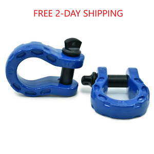 Gearamerica Mega Shackles blue 2 Pk 68 000 Lbs Stronger Than 3 4 D Rings