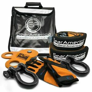 Gearamerica Off Road Recovery Kit Tow Strap Tree Saver Snatch Block Shackles