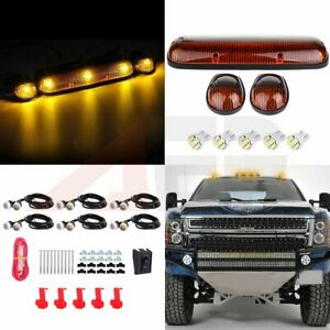 3pcs For Chevy Gmc Amber Roof Cab Clearance Light T10 White Led grille Lamps