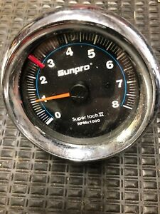 Sunpro Super Tach Ii 2 Tachometer With Mounting Bracket 8000 Rpm