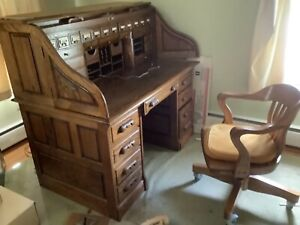 Vintage Lionelle Roll Top Desk With Light And Secret Drawers Chair Included