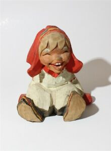Vintage Henning Norway Hand Carved Laughing Girl Troll Figurine