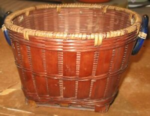 Vintage Chinese Woven Wicker Sewing Basket 2 Canton China Round Blue Glass Rings